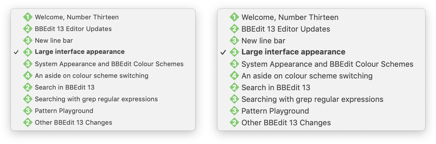 A comparison between BBEdit's functions pop-up menu in normal (left) and large (right) appearances.