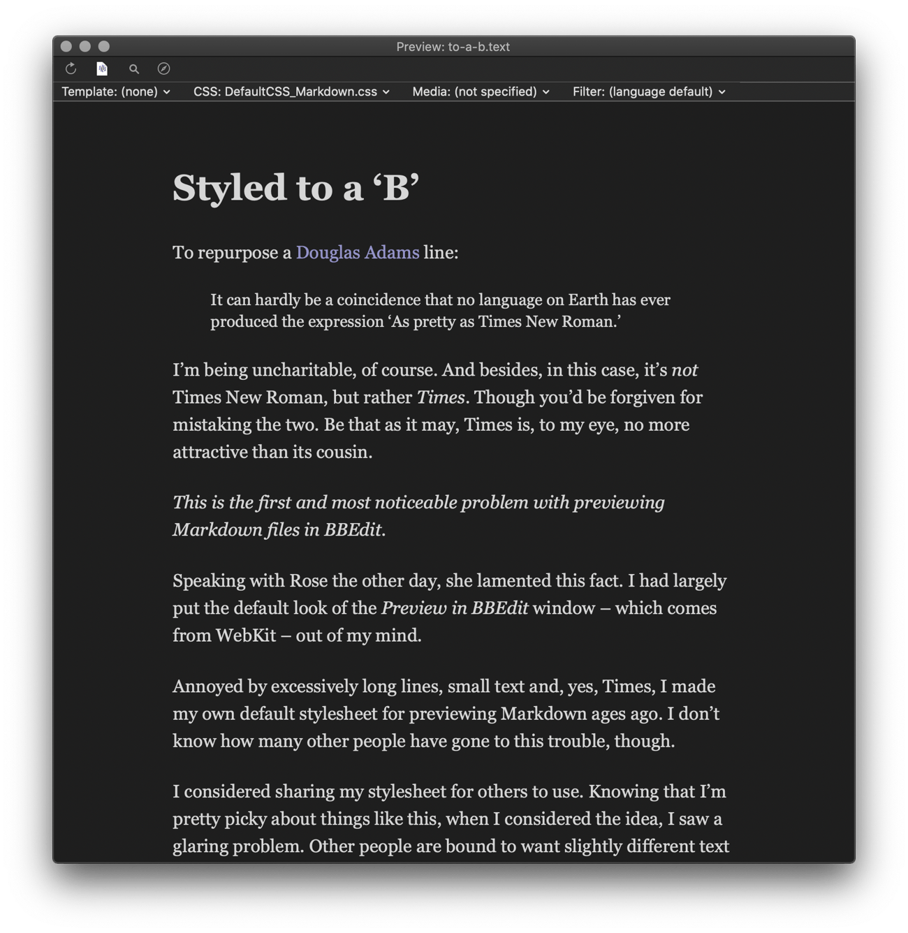 Screenshot of this article previewed using the BBStylish stylesheet, this time using the New York Small font.