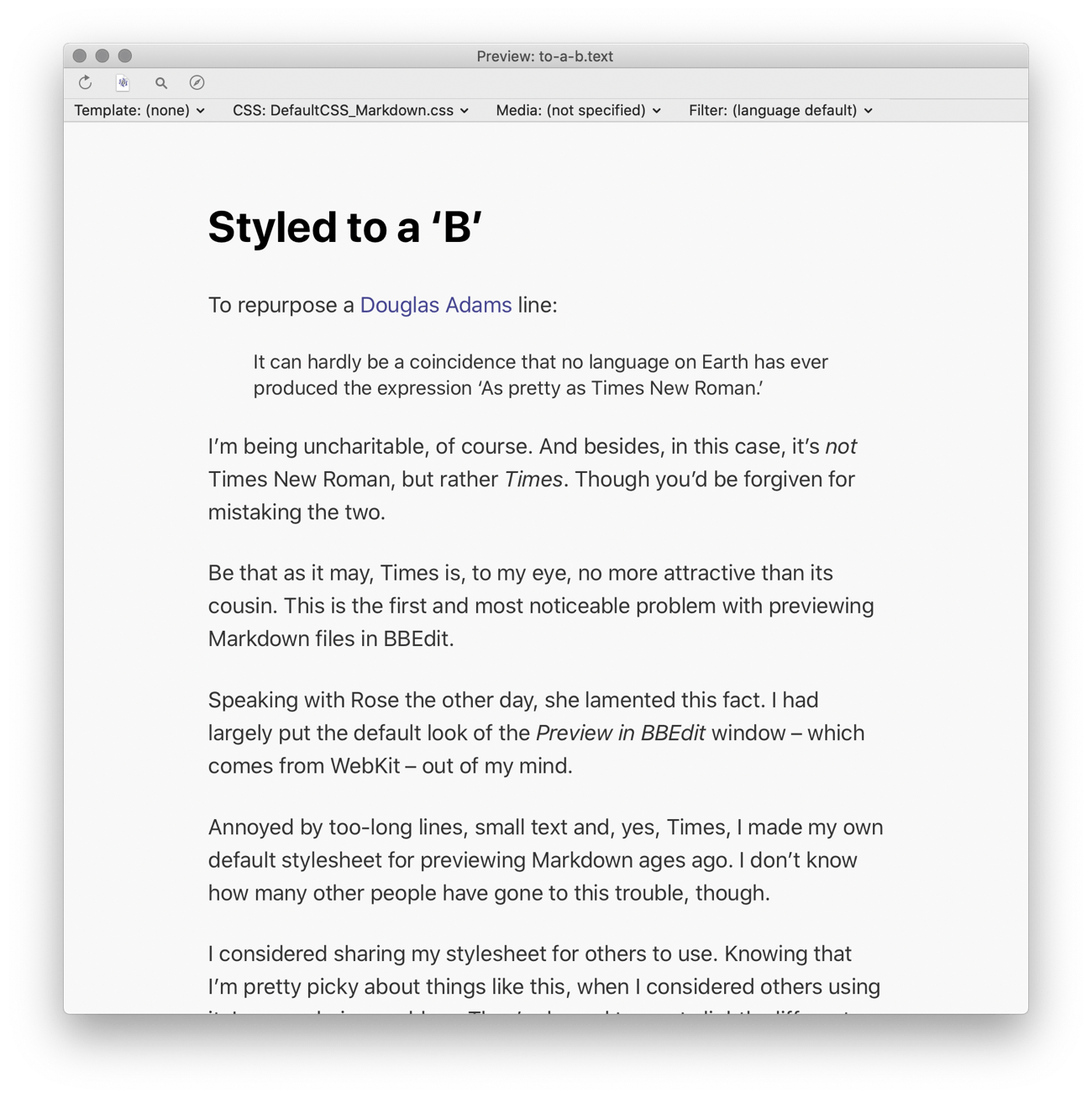 Screenshot of this article previewed using the BBStylish stylesheet in the 'Preview in BBEdit' window.